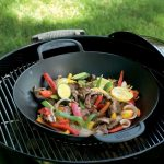 vegetable stir fry on Weber barbecue grill