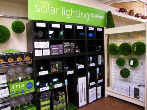 Solar garden lights at Aylett Nurseries