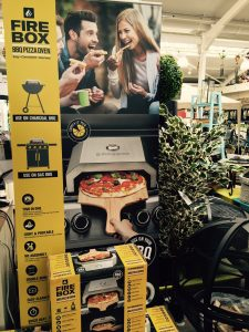 Firebox barbecue packaged in garden centre
