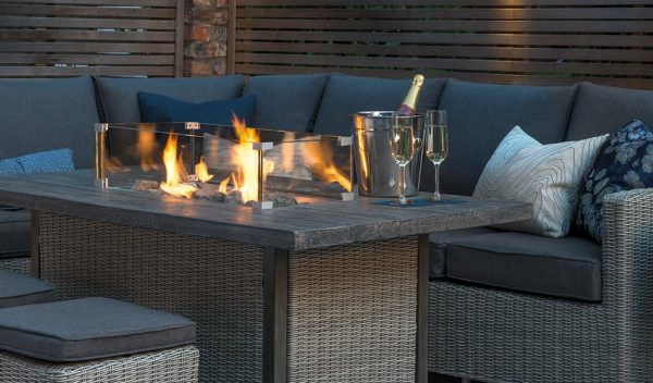 Palma Right Hand Firepit set in Rattan