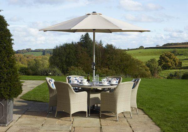 Tetbury 6 seat dining set in Nutmeg