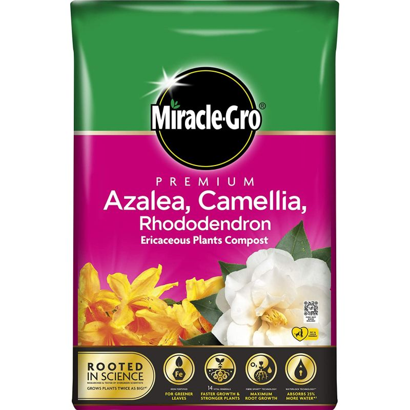 Miracle-Gro® Premium Azalea, Camellia & Rhododendron Ericaceous Compost 40ltr