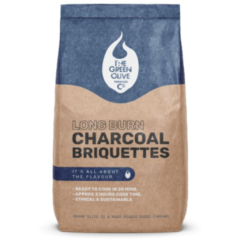 The Green Olive Firewood Co. Kiln Long Burn Charcoal Briquettes 8kg