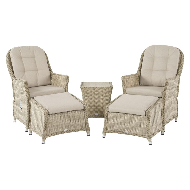 Bramblecrest Monterey Recliner Set with 2 Footstools & Ceramic Top Side Table - Sandstone