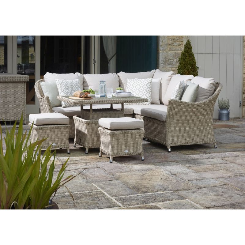 Bramblecrest Monterey Modular Sofa with Mini Adjustable Casual Dining Table & 2 Stools - Sandstone